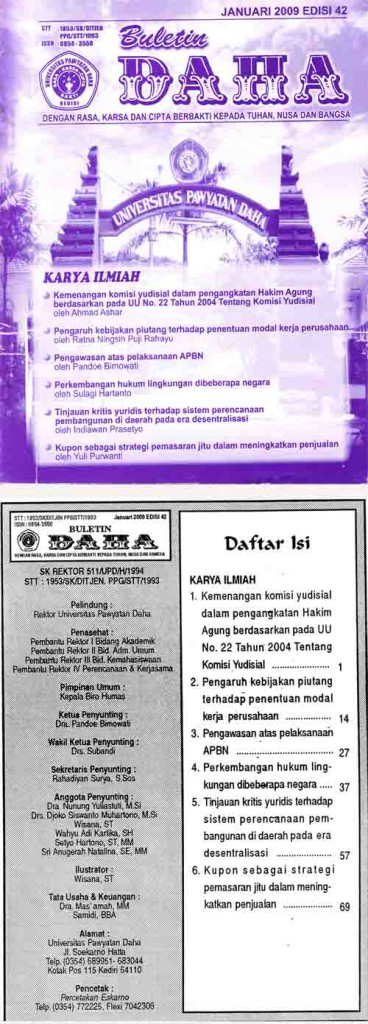 Cover Buletin Daha Januari 2009 Edisi 42